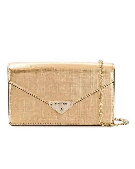 Michael Kors Grace Medium Metallic Leather Envelope Clutch- Gold