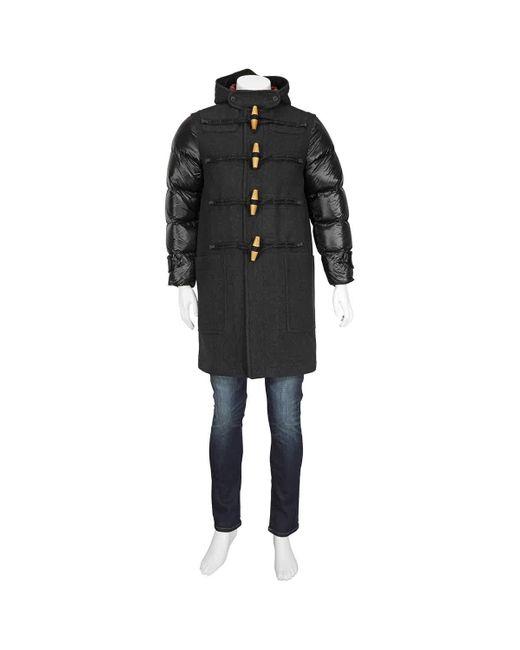 Burberry Black Mens Down-filled Sleeve Wool Blend Duffle Coat, Brand for men