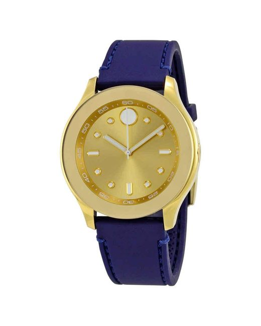 Movado Metallic Bold Gold Dial Blue Silicone Ladies Watch