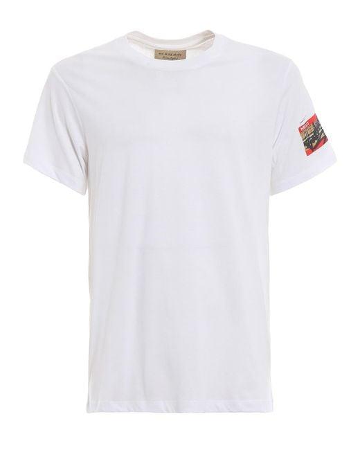 Burberry Mens White Tyford Cotton Jersey T-shirt, Brand for men