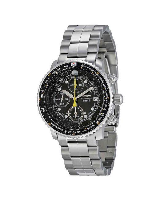 Seiko Metallic Flight Chronograph Steel Black Dial Mens Watch for men