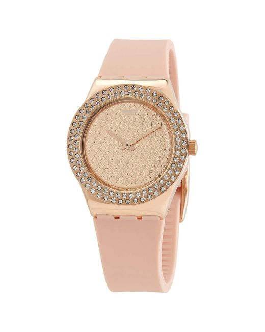Swatch Pink Confusion Quartz Crystal Rose Dial Ladies Watch
