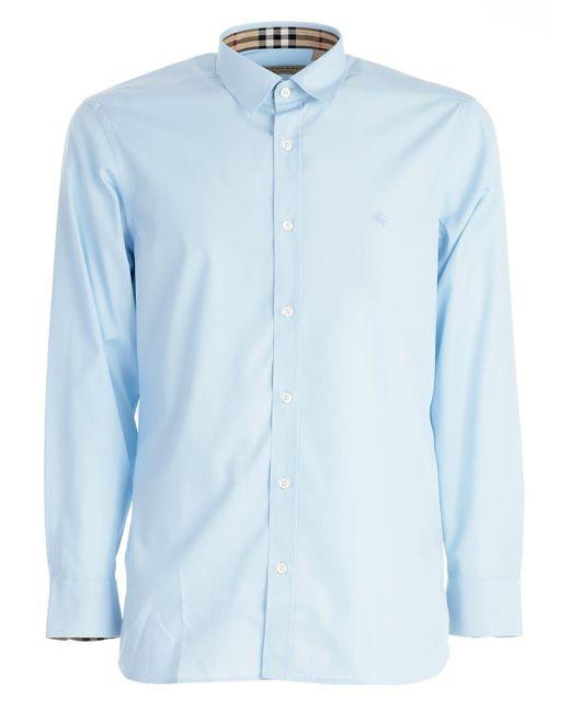 Burberry Mens Stretch Cotton Poplin Shirt In Pale Blue for men