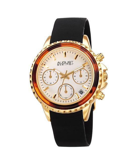 August Steiner Metallic Chronograph Quartz White Dial Watch