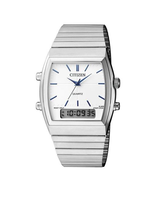 Citizen Metallic Alarm Chronograph Quartz Analog-digital White Dial Watch -51a for men