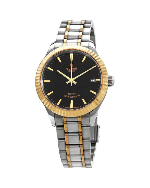 Tudor Metallic Style Automatic Black Dial Ladies 34 Mm Watch -0005