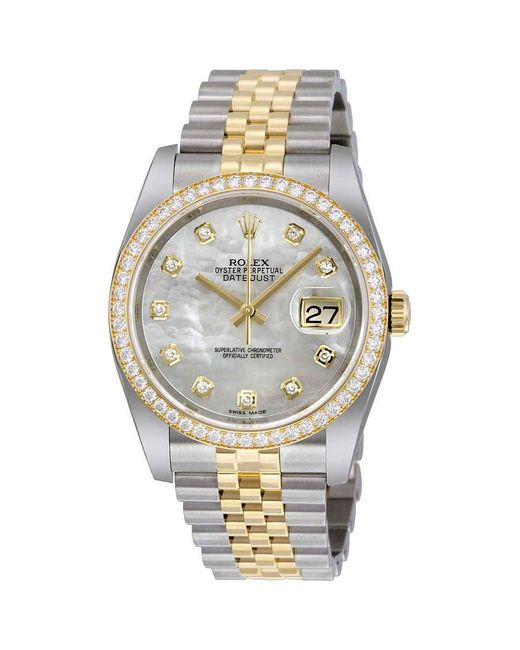 Rolex Metallic Datejust 36 Mother Of Pearl Dial Stainless Steel And 18k Yellow Gold Jubilee Bracelet Automatic Ladies Watch
