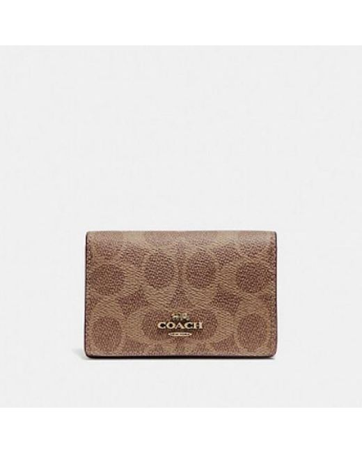 COACH Brown Business Card Case In Signature Canvas