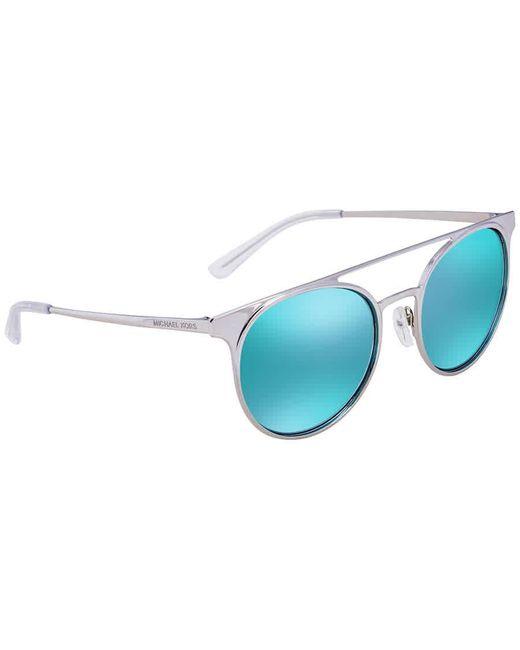 Michael Kors Blue Grayton Teal Mirror Round Ladies Sunglasses  113725 52