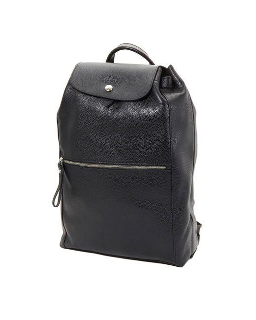 Longchamp Black Veau Foulonne Backpack