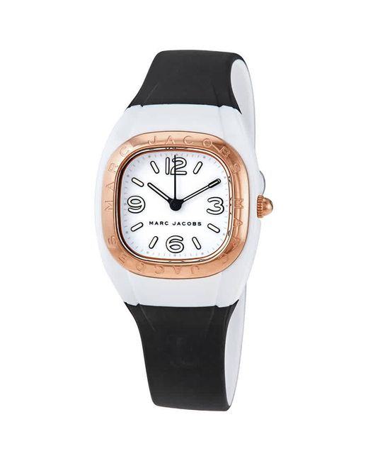 Marc Jacobs Multicolor Quartz White Dial Black Silicone Ladies Watch