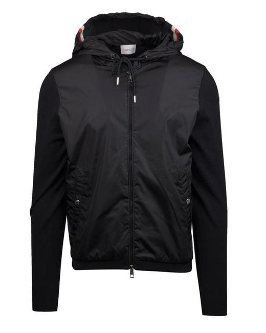Moncler Hooded Knit Jacket In Black for men