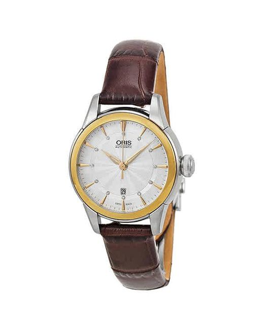 Oris Metallic Artelier Date Automatic Silver Dial Brown Leather Ladies Watch 01 561 7687 4351-07 5 14 70fc