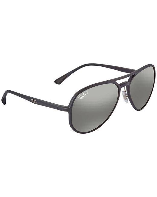 Ray-Ban Metallic Silver Mirror Chromance Aviator Polarized Sunglasses