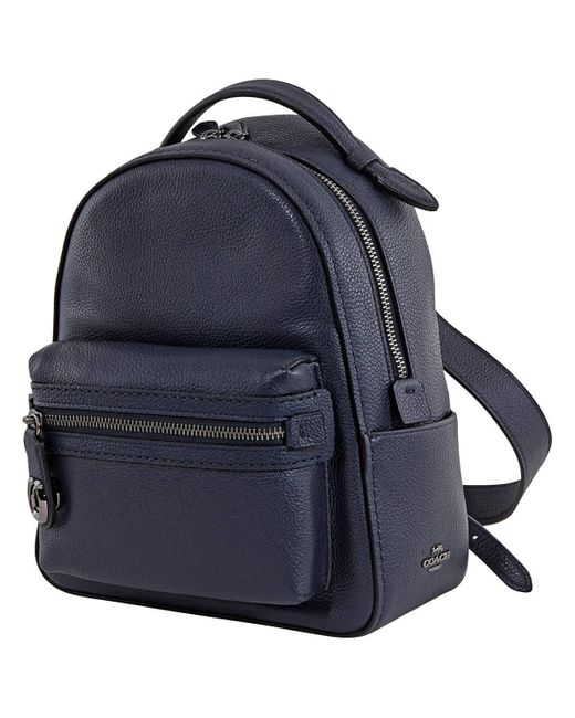 COACH Blue Ladies Pebble Leather Campus Backpack 23 In Midnight