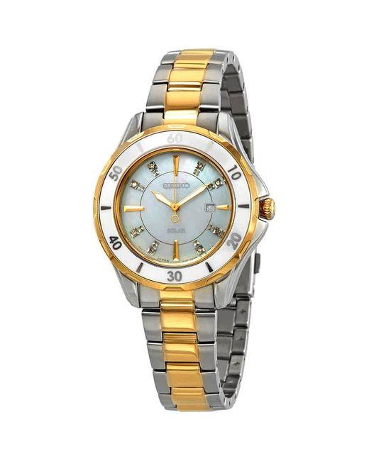 Seiko Metallic Diamonds White Mother Of Pearl Dial Ladies Watch