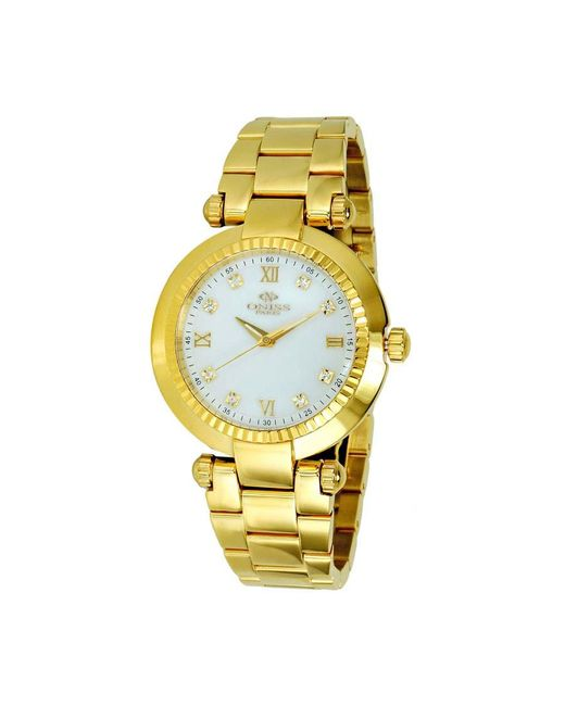 Oniss Metallic Mother Of Pearl Dial Gold-tone Stainless Steel Ladies Watch -lg