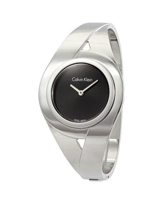 Calvin Klein Metallic Sensual Black Dial Ladies Medium Watch