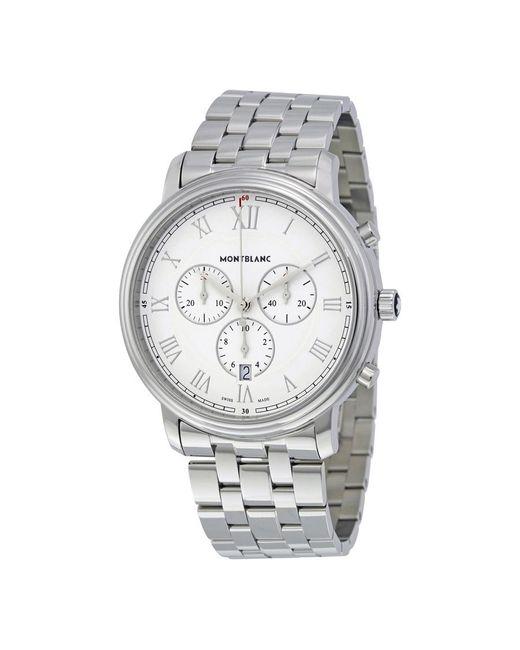 Montblanc Metallic Pre-owned Tradition Chronograph Quartz White Dial Mens Watch for men