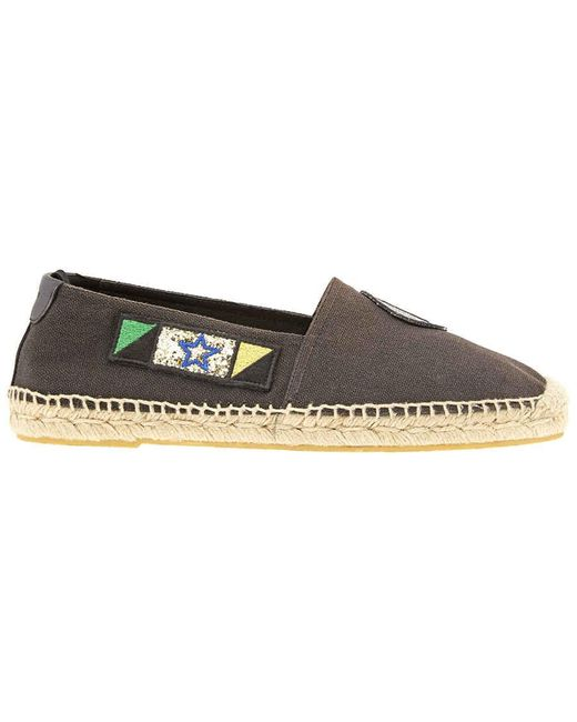 Saint Laurent Mens Slip On Espadrille Black Sl Espa 20mm Canvas, Brand for men