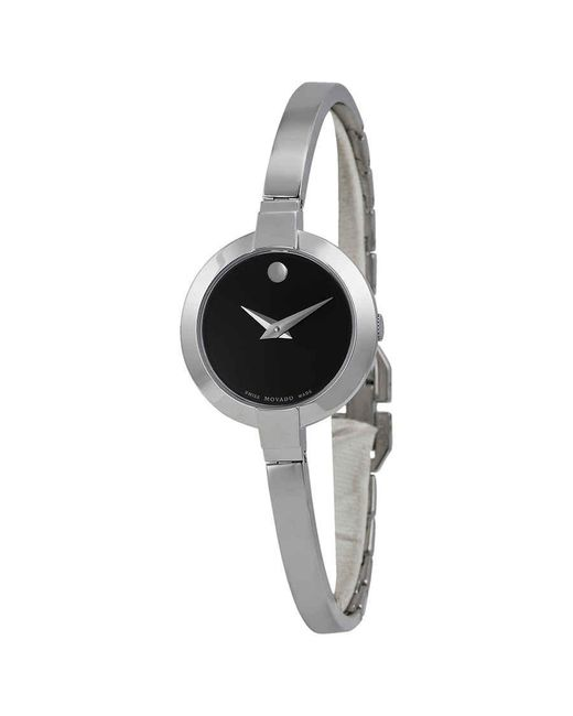 Movado Bela Black Dial Stainless Steel Bangle Ladies Watch