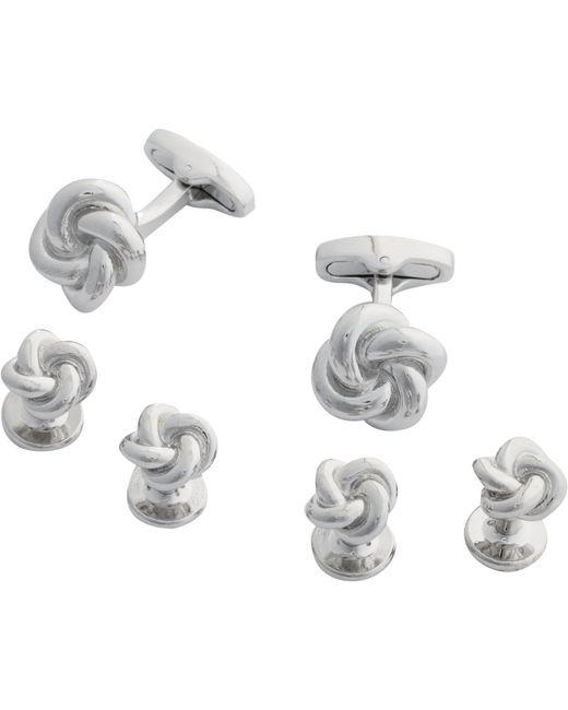 Jos. A. Bank | Metallic Jos.a.bank Silver Knot Cufflinks & Studs Set for Men | Lyst