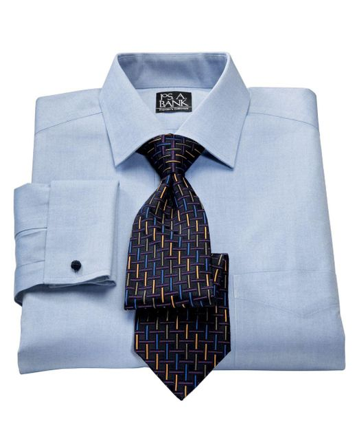 Lyst jos a bank traveler collection tailored fit for Spread collar dress shirt without tie