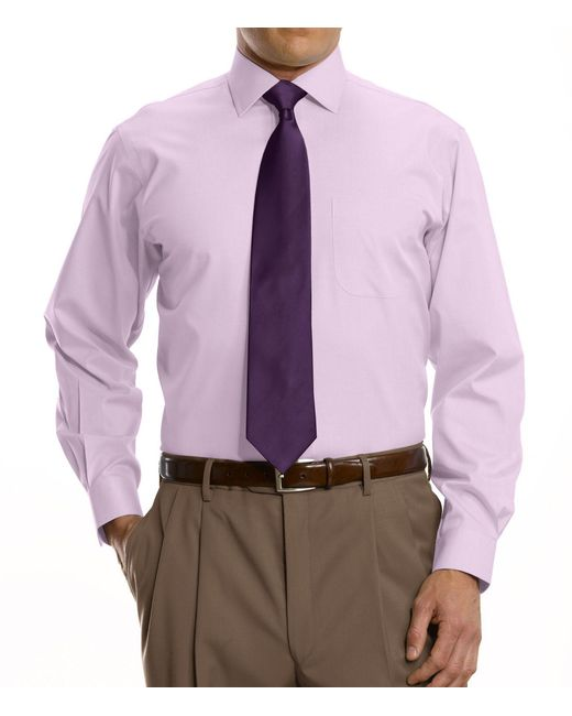 Lyst jos a bank traveller collection tailored fit for Spread collar dress shirt without tie