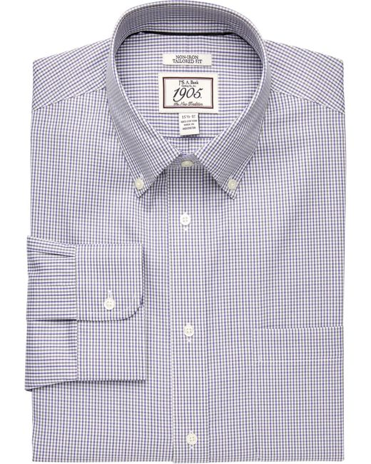 Jos. A. Bank Blue 1905 Collection Traditional Fit Button-down Collar Mini Grid Dress Shirt - Big & Tall for men
