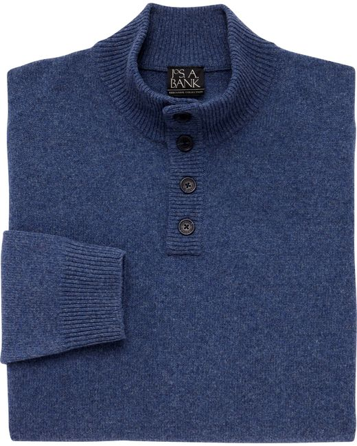 Jos. A. Bank   Blue Executive Collection Lambswool 4-button Mock Neck Sweater for Men   Lyst