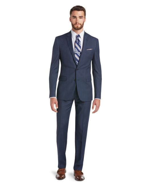 Jos a bank classic collection slim fit sharkskin suit for Jos a bank tailored fit vs slim fit shirts