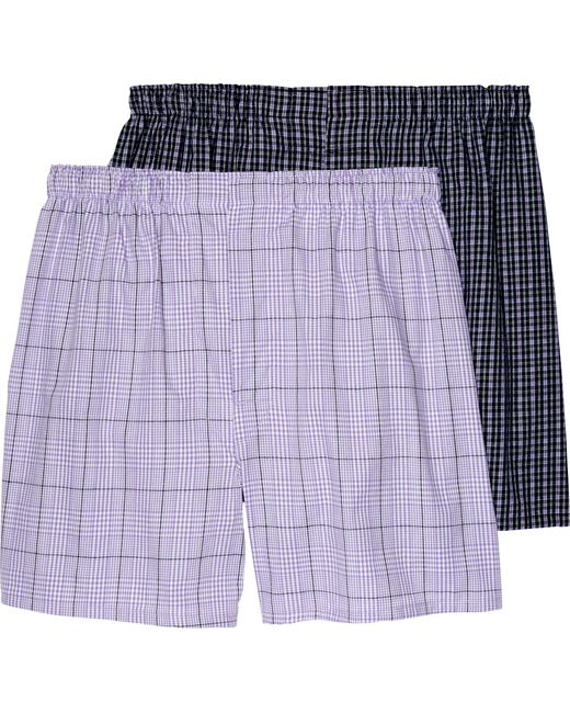 Jos. A. Bank | Purple Plaid Woven Boxers, 2-pack - Big & Tall for Men | Lyst