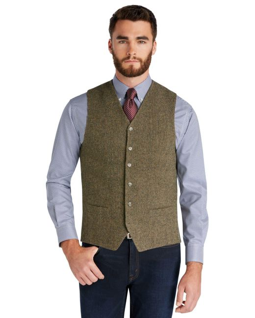 Jos a bank 1905 collection tailored fit tweed vest in for Jos a bank tailored fit vs slim fit shirts
