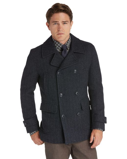 Jos. A. Bank | Blue 1905 Collection Traditional Fit Double-breasted Herringbone Peacoat Clearance for Men | Lyst