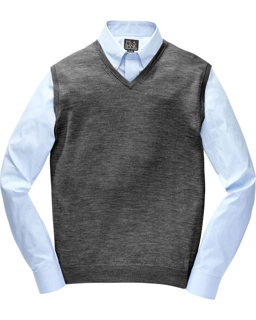 Jos. A. Bank | Gray Traveler Collection Merino Wool Sweater Vest - Big & Tall Clearance for Men | Lyst