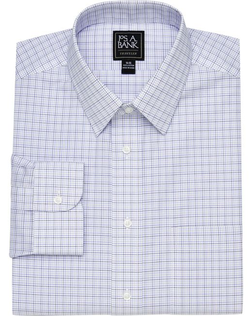 Jos. A. Bank - Blue Traveler Collection Traditional Fit Point Collar Tattersall Dress Shirt for Men - Lyst