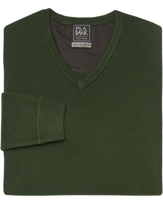 Jos. A. Bank - Green Travel Tech V-neck Merino Wool-blend Sweater for Men - Lyst