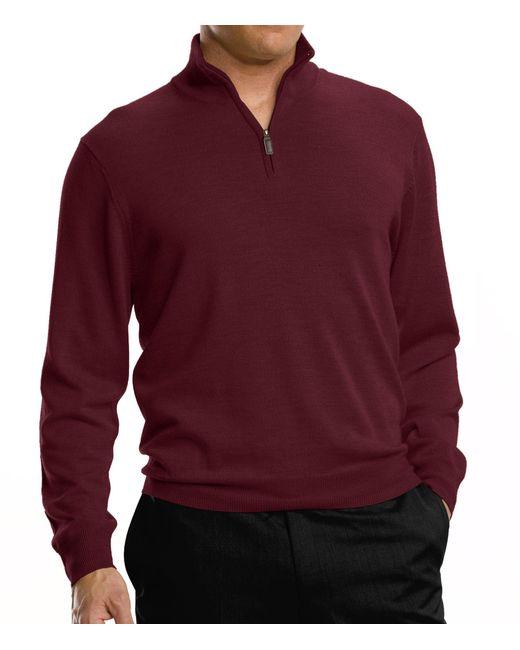 Jos. A. Bank   Purple Signature Merino Half-zip Sweater Clearance for Men   Lyst