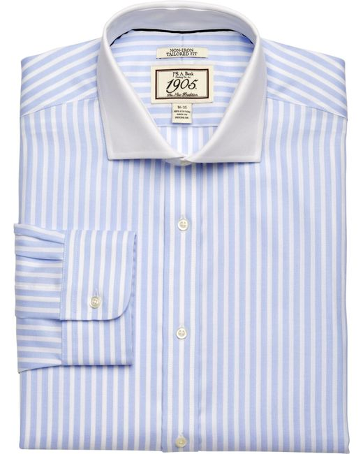 Jos a bank 1905 collection tailored fit cutaway collar for Tailored fit dress shirts