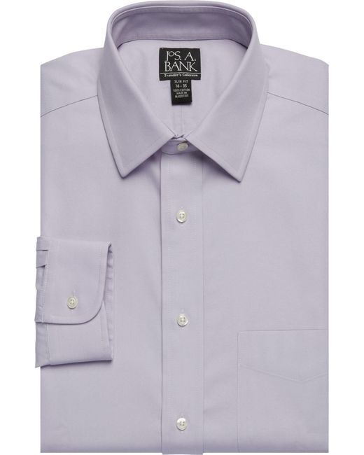 Lyst jos a bank signature collection tailored fit for Jos a bank slim fit vs tailored fit shirts