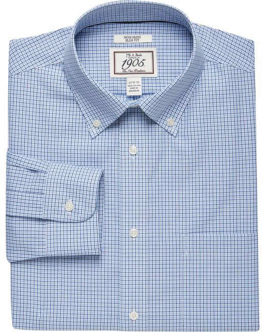 Jos. A. Bank - Blue 1905 Collection Slim Fit Button-down Collar Check Dress Shirt - Big & Tall for Men - Lyst