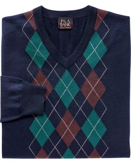 f44502c60 Jos. A. Bank. Men s Blue Signature Collection Merino Argyle Half-zip Sweater