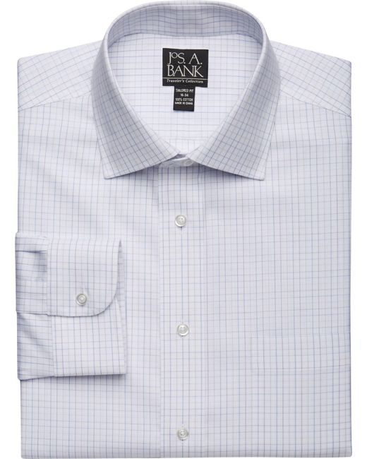 Lyst jos a bank traveler collection slim fit spread for Jos a bank tailored fit vs slim fit shirts