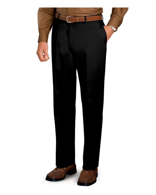 Jos. A. Bank | Black Traveler Tailored Fit Flat Front Twill Pants - Big & Tall for Men | Lyst