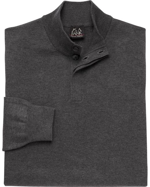 Jos. A. Bank - Gray Signature Collection Pima Cotton 4-button Mock Neck Sweater for Men - Lyst