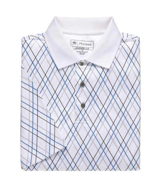 Jos a bank david leadbetter fast dry polo in white for for Big and tall quick dry shirts