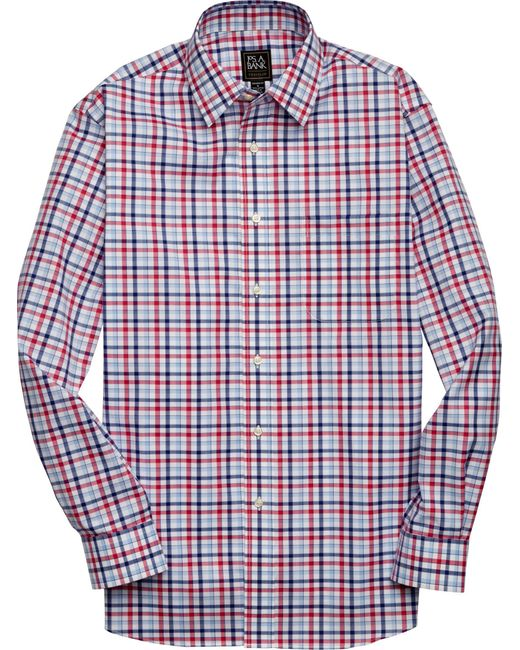 Jos. A. Bank Blue Traveler Collection Traditional Fit Long Sleeve Plaid Men's Sportshirt - Big & Tall for men