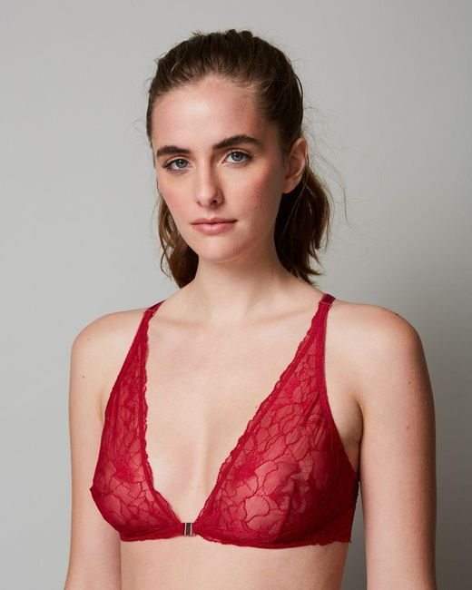 85be3fb56d Samantha Chang - Red All Lace Glamour Halter Bra - Lyst ...