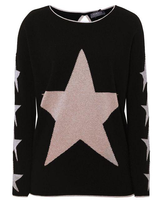 Cocoa Cashmere - Black Cashmere Star Jumper - Lyst