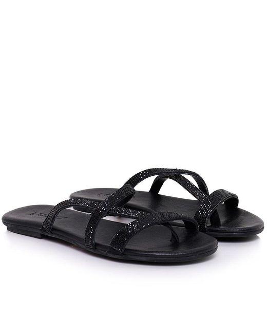 Inuovo | Black Diamante Slip On Sandals | Lyst